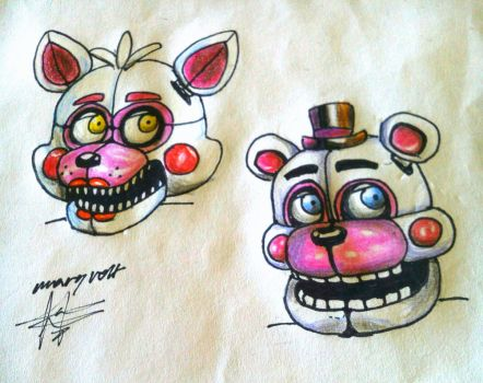 Funtime Freddy and Funtime Foxy by Mary-Volt-htf