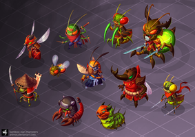 Bamboo Clan Monsters by animot