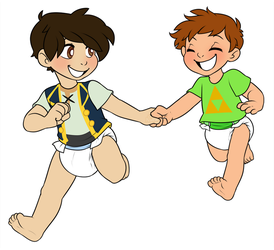 Running Together by Natsu-cat (Commission) by Toddler-Naruto