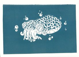 Lino-cut Hawaiian Bobtail Squid by xXxSkullsxXx