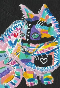Abstract  colorful Pop Art  cat  acrylic painting by tulipteardrops