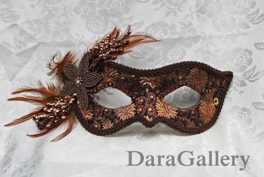 Bronze Brocade Masquerade Mask by DaraGallery