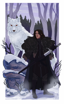 Jon Snow And Ghost by naomimakesart