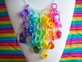 Rainbow Junk Charm Necklace by lessthan3chrissy