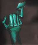 Hand and face with oil-bars by Morgoth883