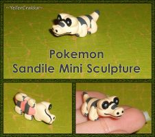 Pokemon - Sandile Mini Sculpture - Handmade