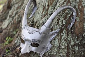 Custom Silver Satyr Leather Mask by b3designsllc