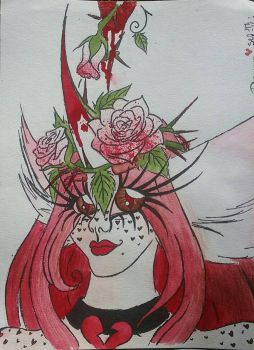 Queen Red watercolor headshot  by WhimsiKitty