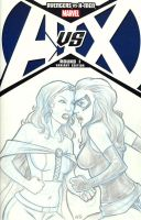 Emma Frost vs Ms Marvel AvsX Sketch Cover by Nortedesigns