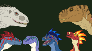 Art Trade- Gang of dinos by Redspets