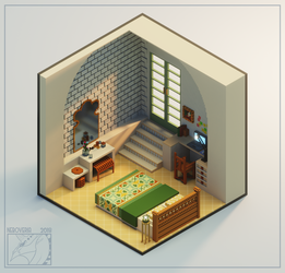 Tiny voxel bedroom by Neboveria