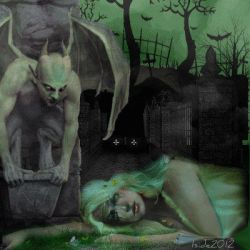 Gothic Cemetery green and black by iside2012