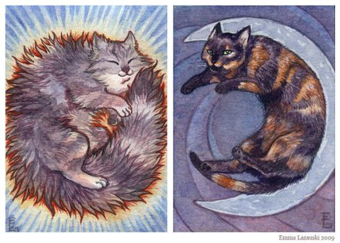 ACEO pair - Sun and Moon cats by emmalazauski