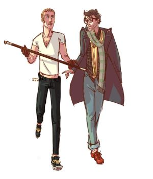 Holmes and Watson as Hipsters by ngoziu