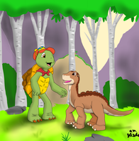 PC- Littlefoot meets Franklin by FallenAngel5414