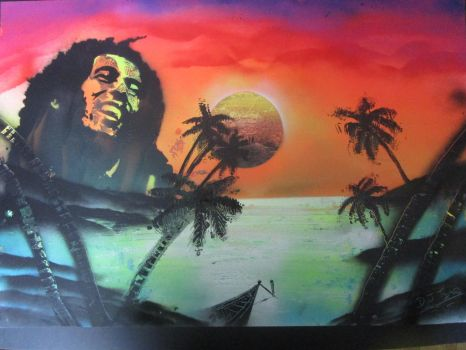 bob marley spray can speed painting by darrenTyrie
