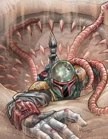 Boba Fett Escapes the Sarlacc Pit by kpetchock