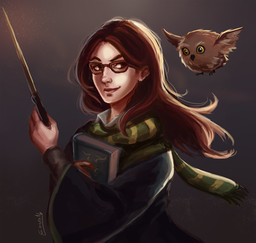Sketch - Slytherin Portrait by MarianaEnnes