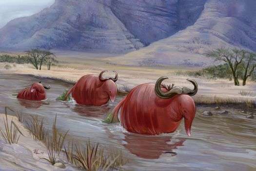 Wildebeets at the Ford by ursulav