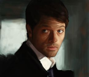Monday Portrait Painting 7.14.14 Castiel by thewordlesssignature