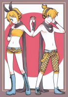 Kagamine Twins by Rokuri