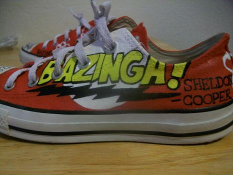 Red White and Bazinga-fied converse by TrekkieAvenger95