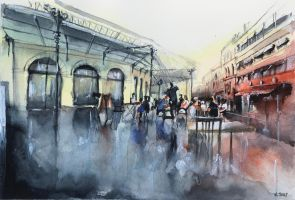 SOLD - Watercolor - Chartrons Place - Bordeaux by nicolasjolly