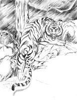Tiger in the woods by I-A-Grafix