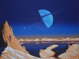 Lake Lassell (Neptune as seen from Triton) by Axel-Astro-Art