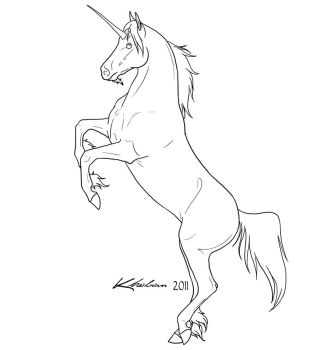 Unicorn Lineart by Kholran