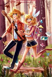 Rin and Len Kagamine VOCALOID Commission by PimientaKast