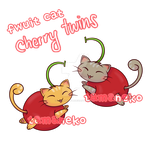 [Adoptable] Fwuit Cat - Cherry Twins (closed) by tamaneko-i-b