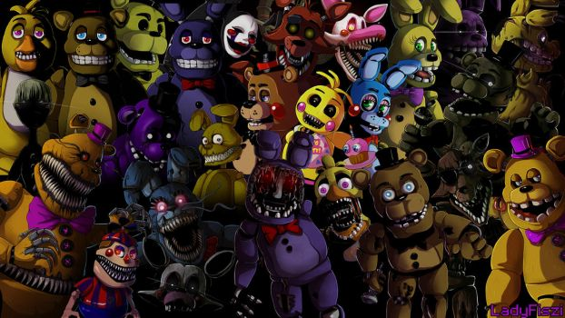 Five nights at Freddy's animatronics wallpaper by LadyFiszi