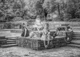 Story Time at the Park in Black and White by mshellee