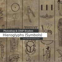 Egyptian Symbols Photoshop and GIMP Brushes by redheadstock