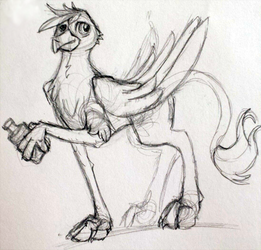 Traditional sketch: Gryphon by ChromaFlow