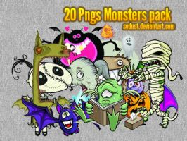 20 monsters pngs pack by sodust