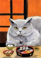 Sushi Cat Big Fred by BlueBirdie