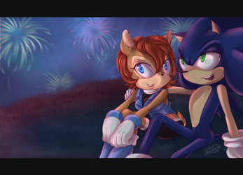 Commission: Sally and Sonic by DivaSaorin