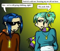 Tia and YoDude - Cold Clubbing by GlowingMember