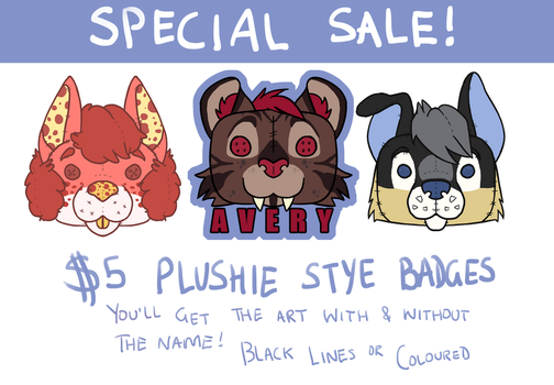 PLUSHIE BADGE SALE! by BearlyPunk