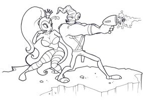 Earthworm Jim and Princess What's-Her-Name by countersunk81