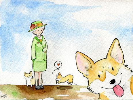 World's Watercolor Month - Day 7 : Queen Elizabeth by Hikasawr