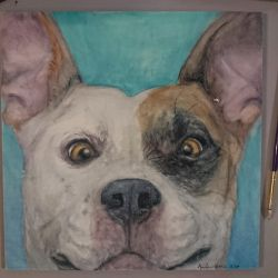 Daisy: Pitbull in watercolors by QueenAnneka