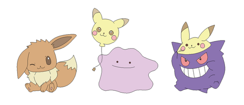 Eevee, pikachu, and gengar lineart by michy123
