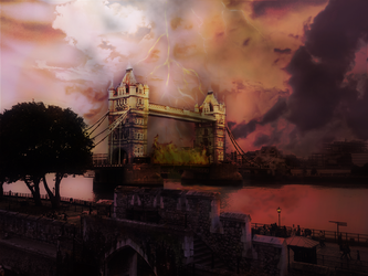 Tower Bridge on fire by Vocalisistic