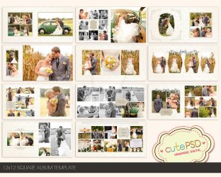 12x12 Square wedding album template by constantine80