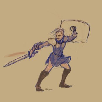 Blue Knight Sketch by kikoeart