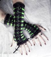 Wicked Maiden Victorian Corset Laced Arm Warmers by ZenAndCoffee