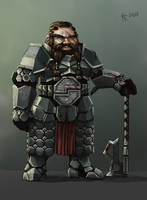Dwarven warrior by Thylacinee